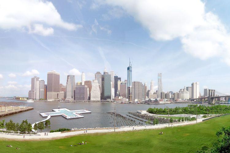 Sungai terapung di East River New York Amerika Serikat