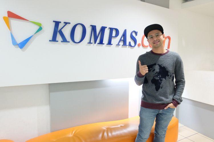 Raffi Ahmad saat promo film The Secret ke Gedung Kompas Gramedia, Jalan Palmerah Selatan, Jakarta, Rabu (18/4/2018).