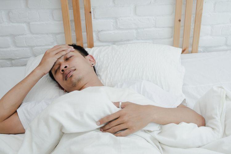 Ilustrasi seorang pria yang sedang sakit