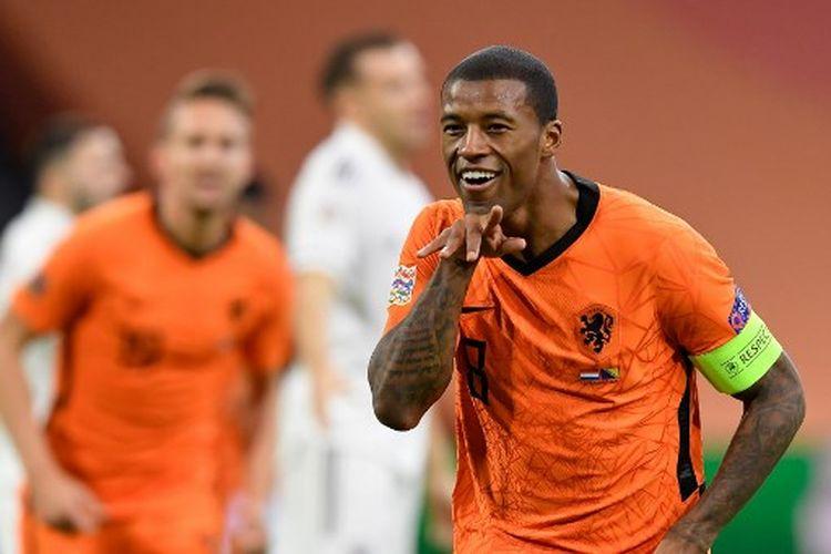 Georginio Wijnaldum melakukan selebrasi gol pada laga kelima Grup A1 UEFA Nations League yang mempertemukan Belanda vs Bosnia & Herzegovina di Stadion Johan Cruyyf Arena, Senin (16/11/2020) dini hari WIB.