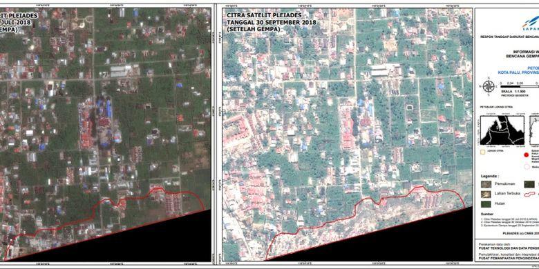 Citra satelit tunjukkan wilayah Petobo, Sulteng juga terdampak gempa Donggala