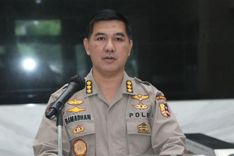 Kepala Bagian Penerangan Umum Polri Kombes Ahmad Ramadhan di Bareskrim Polri, Jakarta Selatan.