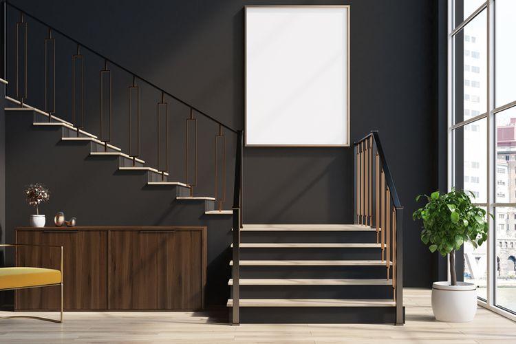 Ilustrasi tangga di rumah.