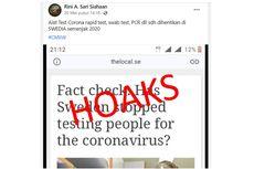 [HOAKS] Swedia Hentikan Rapid Test, Swab Test, dan PCR sejak 2020