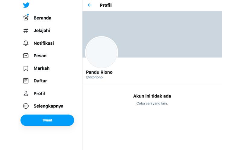 Tangkapan layar akun twitter Pandu Riono
