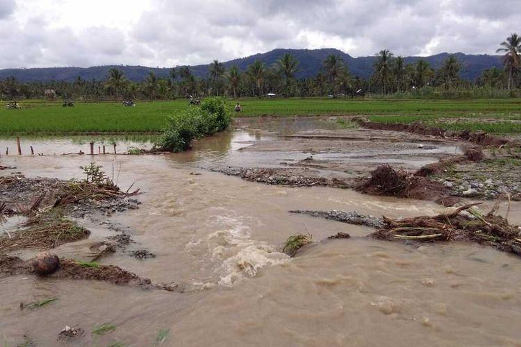 Banjir yang terjadi di Kabupaten Lahat, Sumatera Selatan merendam sawah milik warga Sabtu (25/1/2020). Banjir itu berlangsung akibat diguyur hujan deras selama dua hari terakhir.