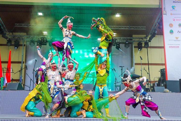 Tari Dewa Ruci saat ditampilkan di Festival Indonesia di Moskow, Rusia. Festival berlangsung 2-4 Agustus 2019.