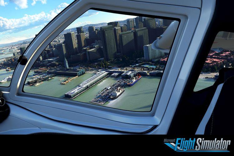 Ilustrasi game Microsoft Flight Simulator dari sudut pandang pilot