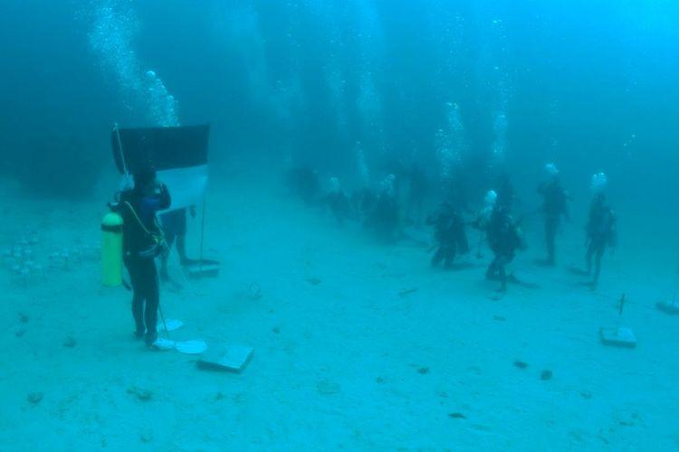 Para penyelam dari Kutai Timur menggelar upacara bendera merah putih di bawah laut sedalam 20 meter, mereka juga melakukan penanaman terumbu karang.