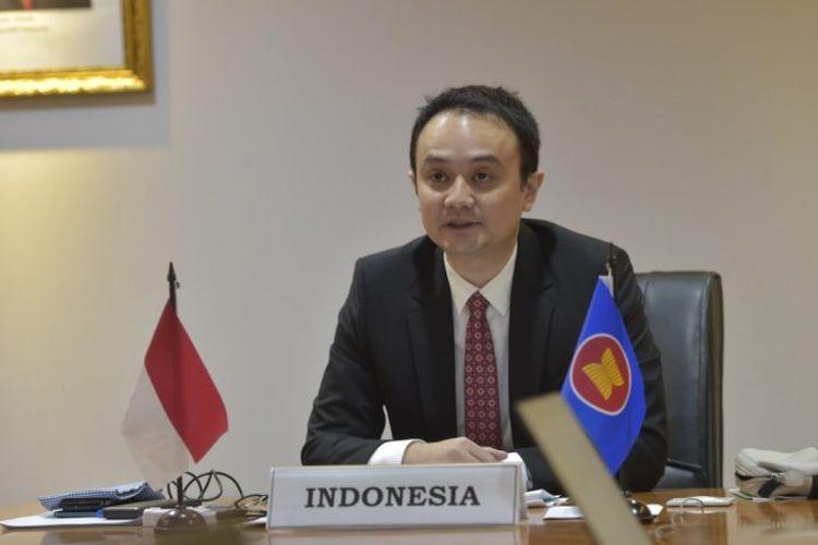 Wamendag Jerry Sambuaga, saat menghadiri pertemuan Special ASEAN Economic Ministers on Covid-19 Response secara virtual.