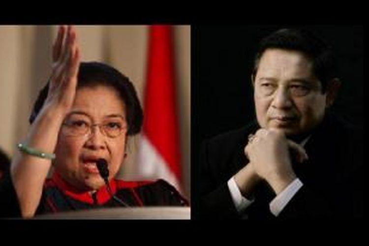 Ketua Umum Partai Demokrasi Indonesia Perjuangan Megawati Soekarnoputri (kiri) - Ketua Umum Partai Demokrat Susilo Bambang Yudhoyono