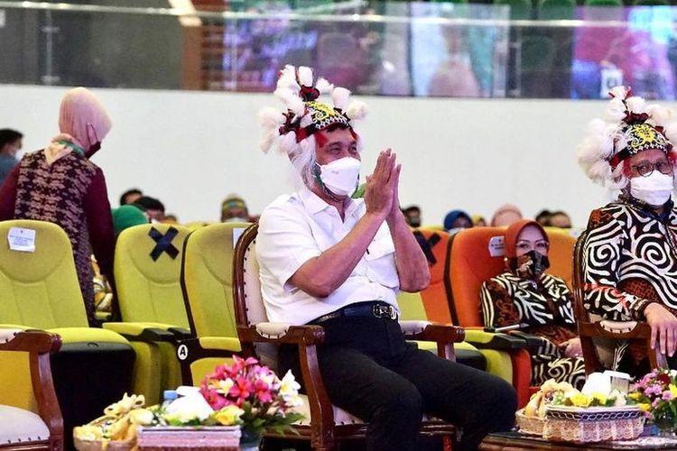 Menteri Koordinator Maritim dan Investasi Luhut Binsar Pandjaitan saat berada di Convention Hall Samarinda, Kalimantan Timur, Selasa (12/10/2021).