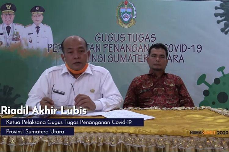 Ketua Pelaksana Gugus Tugas Penanganan Covid-19 Provinsi Sumatera Utara Riadil Akhir Lubis memberikan keterangan pers secara live di YouTube Humas Sumut, Kamis (19/3/2020).
