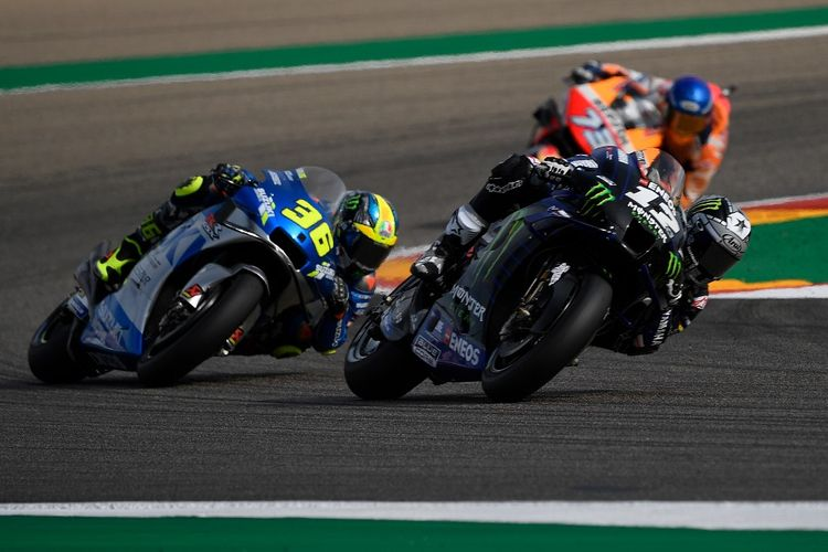 Maverick Vinales saat berlaga di MotoGP Teruel. (Photo by PIERRE-PHILIPPE MARCOU / AFP)