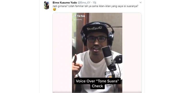 Tangkapan layar twit voice over yang mengisi berbagai iklan di Indonesia