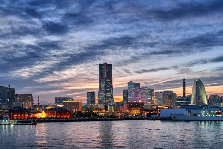 Ilustrasi pelabuhan Yokohama di Jepang.