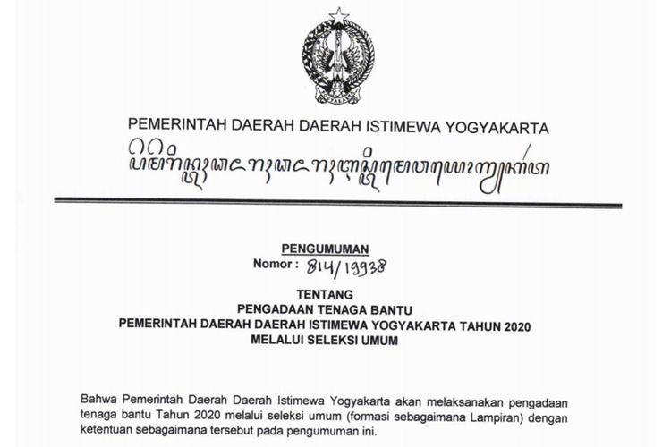 Pemerintah Daerah Daerah Istimewa Yogyakarta (Pemda DIY) membuka pengadaan tenaga bantu pada 2020.