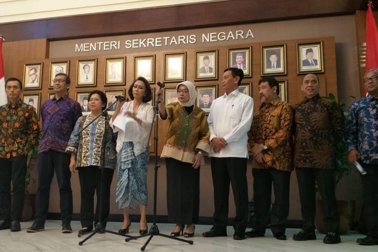 Panitia Seleksi Calon Pimpinan Komisi Pemberantasan Korupsi (PanselKPK) yang dibentuk Presiden Joko Widodo dalam jumpa pers di Istana Kepresidenan, Jakarta, Senin (20/5/2019).