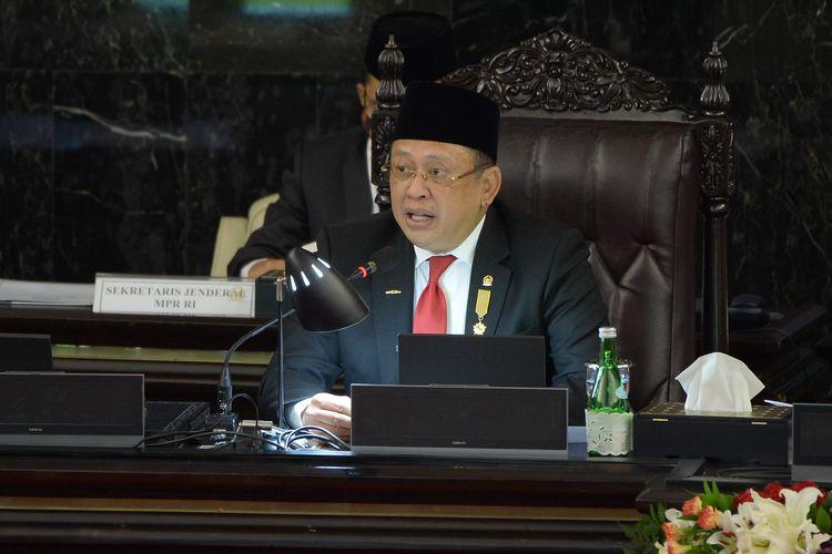 Ketua MPR Bambang Soesatyo dalam Sidang Tahunan MPR/DPR/DPD di kompleks parlemen, Senayan, Jakarta, Jumat (14/8/2020).