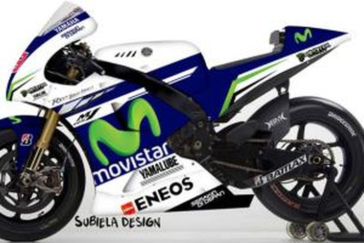 Hasil render corak baru Yamaha MotoGP dengan sponsor utama Movistar karya Subiela Design, Spanyol.