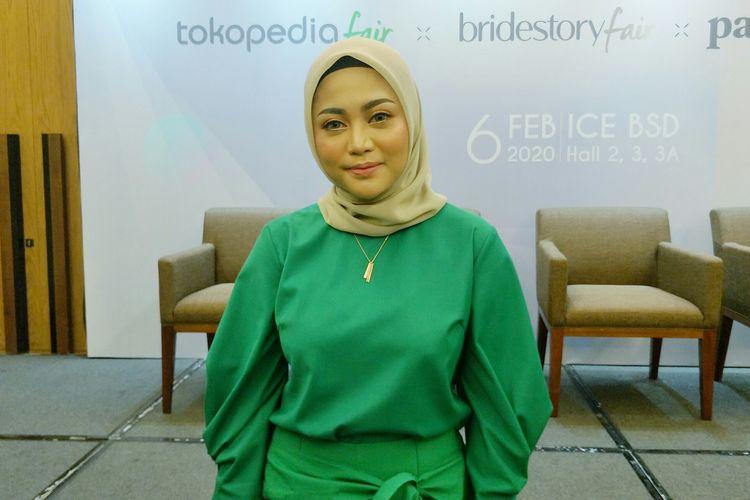 Pengusaha yang juga selebgram Rachel Vennya saat ditemui di acara Konferensi PersTokopedia Fair xBridestory Fair x Parentstory Fairdi ICE BSD, Tangerang, Kamis (6/2/2019).