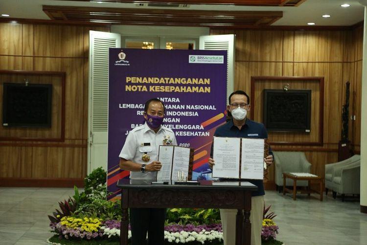 BPJS Kesehatan menjalin kerja sama dengan Lemhamnnas guna meningkatkan SDM dalam pelayanan JKN-KIS di Kantor Lemhannas, Rabu (17/6/2020).