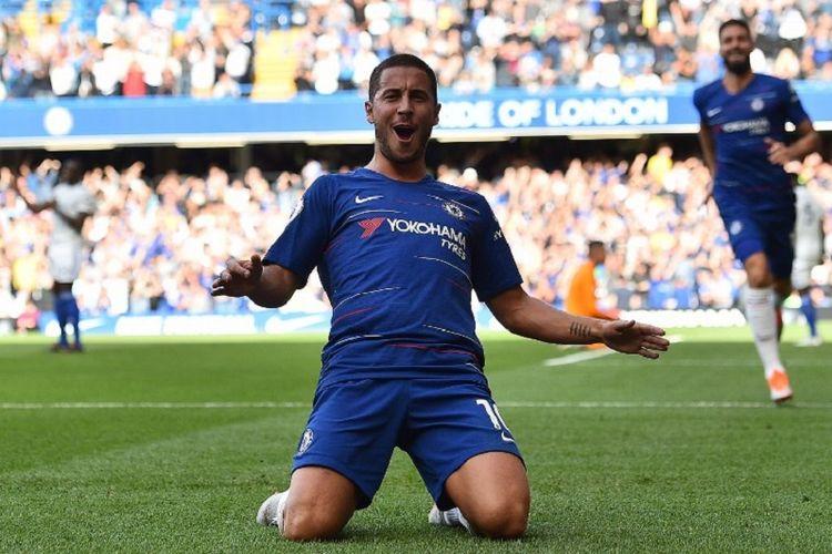 Eden Hazard merayakan gol Chelsea ke gawang Cardiff City pada pertandingan Premier League di Stadion Stamford Bridge, 15 September 2018.