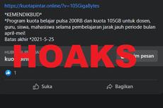 [HOAKS] Bantuan Kuota Belajar 105 GB dan Pulsa Rp 200.000 dari Kemendikbud