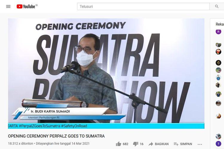 Menhub Budi Karya Sumadi di acara opening ceremony perpalz goes to sumatera