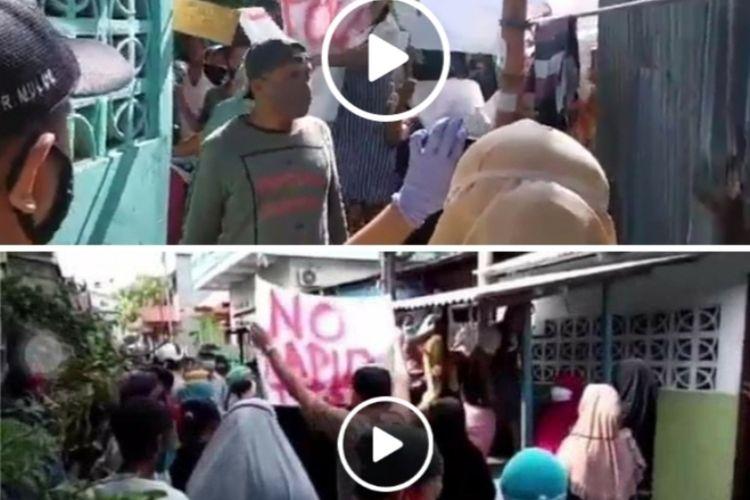 Video penolakan warga  menolak dan menghadang gugus tugas Covid-19 dan tenaga medis di kawasan Silale, Kecamatan, Nusaniwe, Kota Ambon viral di media sosial, Jumat (5/6/2020)