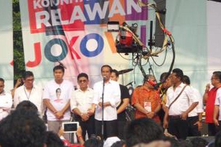 Presiden Joko Widodo dalam acara Jambore Komunitas Juang Relawan Jokowi di Bumi Perkemahan Cibubur, Jakarta, Sabtu (16/5/2015).