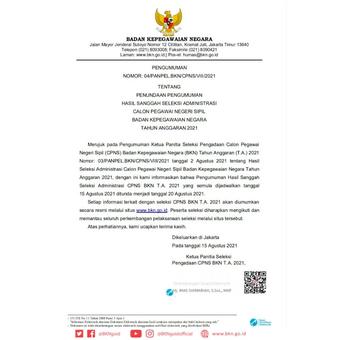 Surat resmi penundaan pengumuman hasil administrasi CPNS BKN 2021