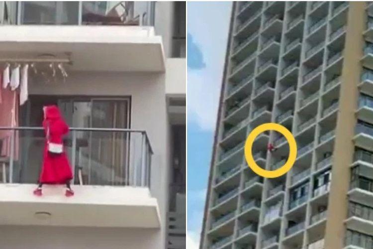 Inilah detik-detik seorang wanita di apartemen Sinya, China, pada 6 Mei ketika dia menari di tepi balkon lantai 25 sebelum jatuh dan tewas. Penghuni apartemen buru-buru pindah karena melihat video wanita itu jatuh sambil memakai pakaian berwarna merah.