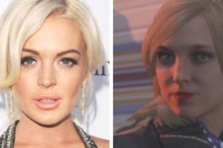 Lindsay Lohan (kiri) dengan Lacey jonas, karaker yang dianggap mencuri penampilan fisik Lohan.