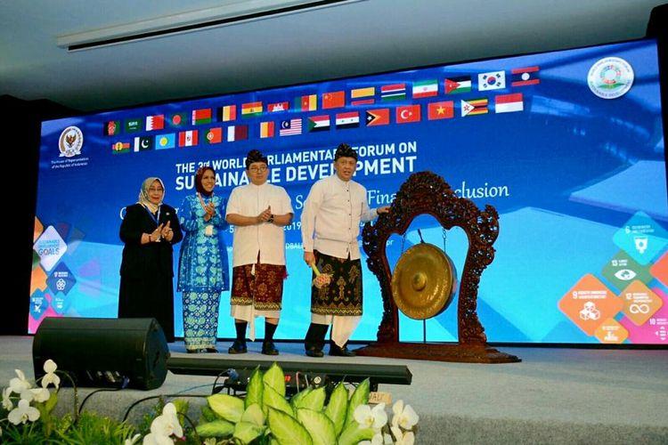 Ketua DPR RI Bambang Soesatyo saat membuka 3rd World Parliamentary Forum on Sustainable Development (WPFSD ke-3), di Bali, Rabu (4/9/19).