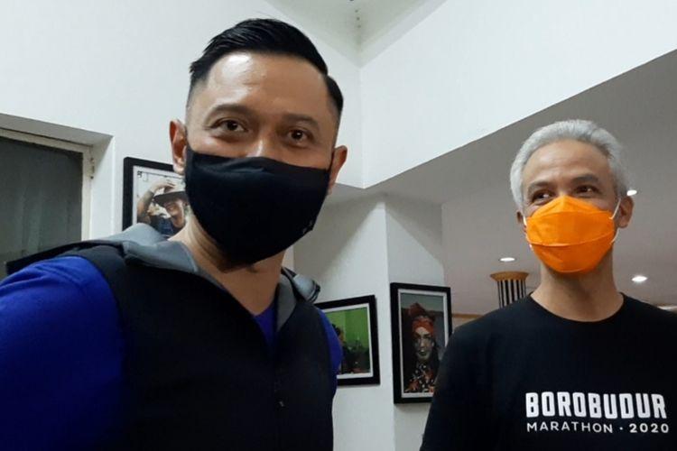 Gubernur Jawa Tengah Ganjar Pranowo dan Agus Harimurti Yudhoyono (AHY) di Puri Gedeh Kota Semarang, Rabu (2/12/2020) malam.