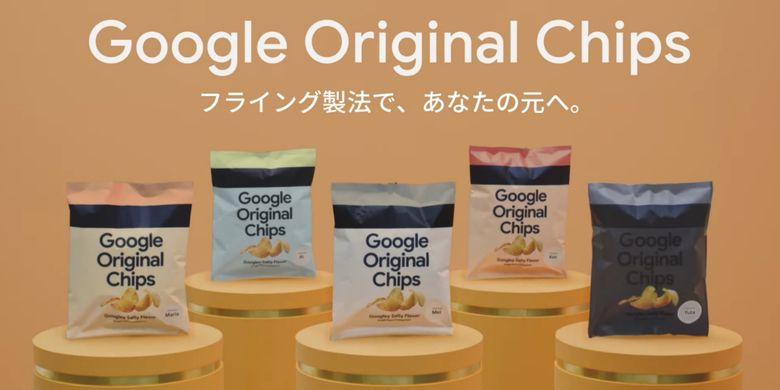 Lima warna kemasan Google Original Chips, yang dibuat mirip dengan lima warna ponsel Pixel 6.