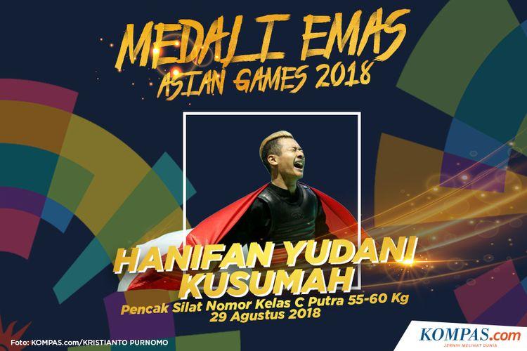 Pesilat putra Indonesia, Hanifan Yudani Kusuma meluapkan kegembiraan setelah berhasil meraih medali emas pada partai final nomor kelas C putra 55 kg sampai 60 kg Asian Games 2018 di Padepokan Pencak Silat, TMII, Jakarta, Rabu (29/8/2018).