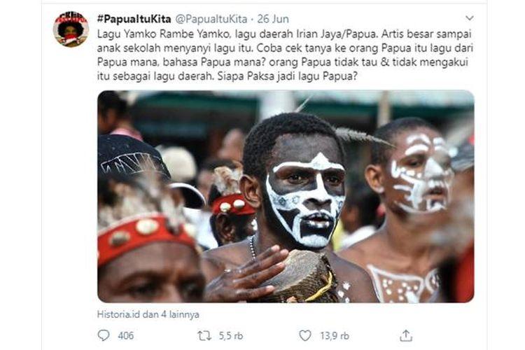 Tangkapan layar twit yang viral soal lagu Yamko Rambe Yamko bukan dari Papua(Twitter)