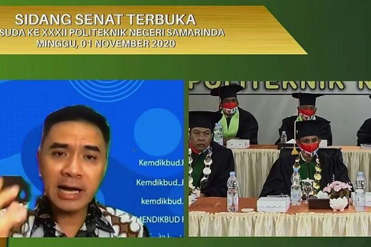 Dirjen Pendidikan Vokasi Kemendikbud Wikan Sakarinto hadir dalam acara Sidang Senat Terbuka Wisuda ke-32  Politeknik Negeri Samarinda (Polnes).