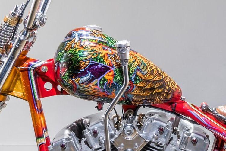 Motor custom Harley-Davidson Shovelhead bergaya chopper garapan Ndra King