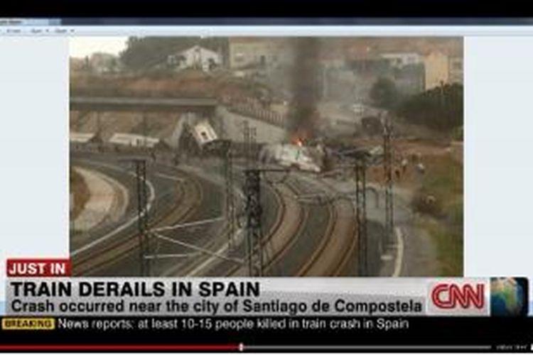 Sebuah kereta rute dari Madrid ke Ferrol di barat laut Spanyol, keluar dari lintasan di sebuah tikungan di dekat kota Santiago de Compostela, Rabu (24/7/2013) siang waktu setempat atau Kamis (25/7/2013) waktu Indonesia. Sedikitnya 20 orang tewas.