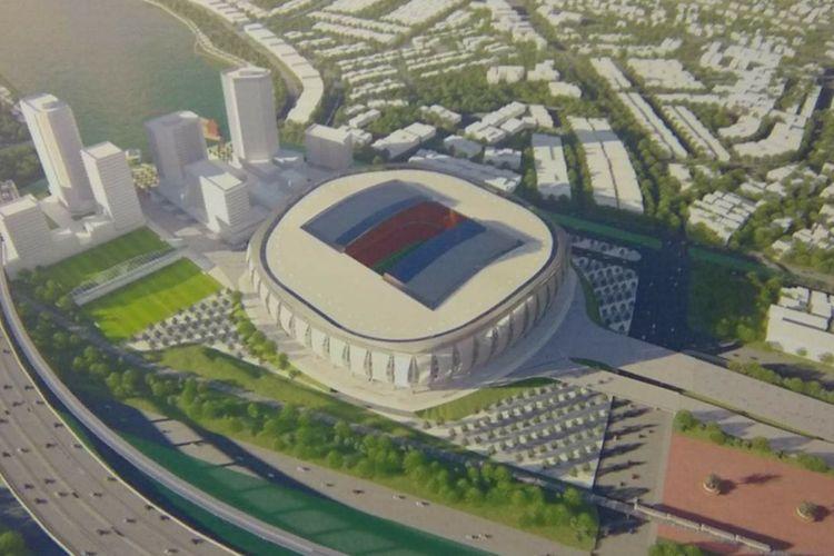 Rancangan Jakarta International Stadium yang segera dibangun di Taman BMW, Jakarta Utara.