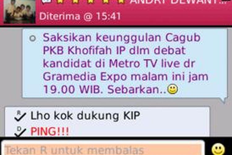 Pesan massal BlackBerry Messenger (BBM) Ketua KPU Jatim yang dikecam Pemuda Pancasila Jawa Timur.