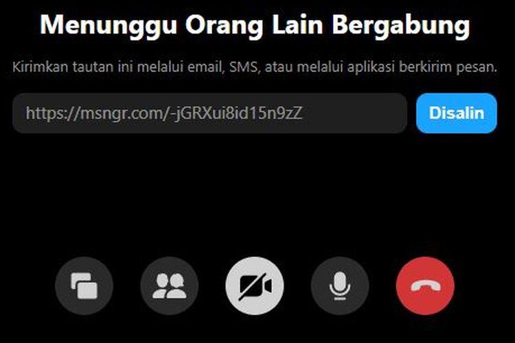 Kolom tunggu messenger yang menghadirkan link dan dapat dibagi tanpa harus login Messenger