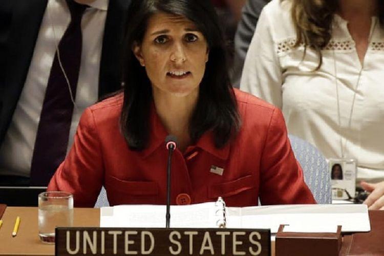 Dubes AS untuk PBB Nikki Haley saat berbicara pada sidang DK PBB di New York, Rabu (5/7/2017), untuk merespons pengujian ICBM Korut pada hari sebelumnya.