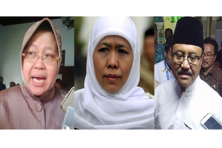 Wali Kota Surabaya Tri Rismaharini, Menteri Sosial Khofifah Indar Parawansa, dan Wakil Gubernur Jawa Timur Saifullah Yusuf.