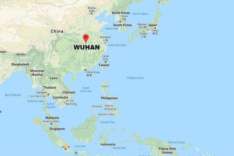 Posisi geografis kota Wuhan, China. Virus corona yang mematikan diketahui berasal dari kota itu.