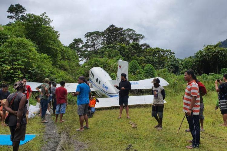 Kondisi pesawat usai gagal mendarat sempurna, Kamis (15/10/2020).