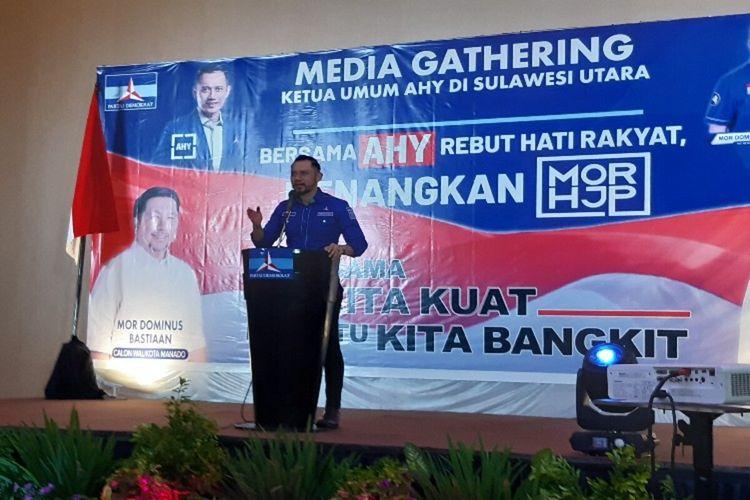Ketua Umum DPP Partai Demokrat Agus Harimurti Yudhoyono (AHY) dalam media gathering yang digelar DPD Demokrat Sulut di Manado, Rabu (25/11/2020) pagi.